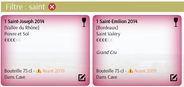 Filtre Inventaire Cave à vin